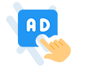 pay per click ad with finger clicking it