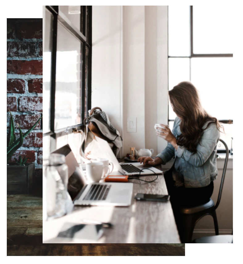 girl drinking coffee while working