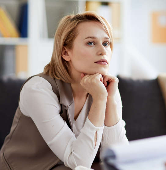 woman thinking during therapy session